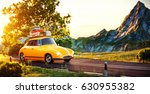 cute little retro car with... | Shutterstock . vector #630955382