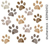 brown colored paw print... | Shutterstock .eps vector #630960452