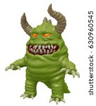 Funny Cute Monster With Horns...