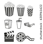 movie items set. vector... | Shutterstock .eps vector #630961622