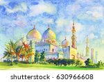 Painting Jumeirah Mosque. Hand...