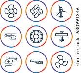 propeller icons set. set of 9... | Shutterstock .eps vector #630991346