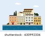 mediterranean landscape by sea. ... | Shutterstock .eps vector #630992336