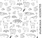 animals of south america vector ... | Shutterstock .eps vector #631004705