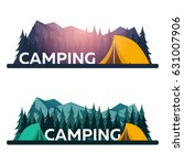 summer camp. evening camp  pine ... | Shutterstock .eps vector #631007906