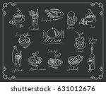 vector menu with sketches... | Shutterstock .eps vector #631012676