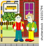 boys waiting for bus | Shutterstock .eps vector #63101794