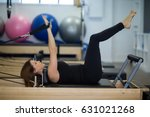 woman practicing stretching... | Shutterstock . vector #631021268