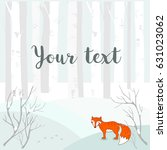 winter background with trees... | Shutterstock .eps vector #631023062