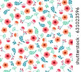 spring flowers seamless pattern ... | Shutterstock .eps vector #631023596