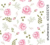 beautiful pink roses seamless... | Shutterstock .eps vector #631023725