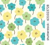 spring flowers seamless pattern ... | Shutterstock .eps vector #631023728