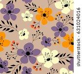 spring flowers seamless pattern ... | Shutterstock .eps vector #631024016