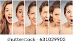 woman changing mood   | Shutterstock . vector #631029902