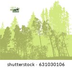 forest tracing. vector | Shutterstock .eps vector #631030106