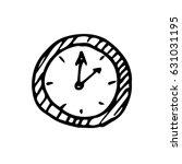 hand drawn clock icon. sketch ... | Shutterstock .eps vector #631031195