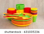set of dishes for a picnic. set ... | Shutterstock . vector #631035236