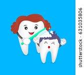 cute cartoon tooth family. mom... | Shutterstock .eps vector #631035806