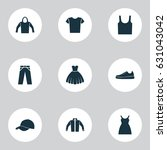 garment icons set. collection... | Shutterstock .eps vector #631043042