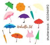 set with cartoon umbrellas. | Shutterstock .eps vector #631046492