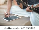 musicians play guitar and... | Shutterstock . vector #631058342