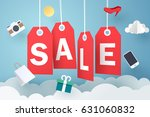 paper art of sale tag hanging... | Shutterstock .eps vector #631060832