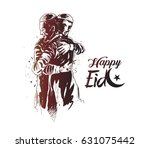 muslim man hugging and wishing ... | Shutterstock .eps vector #631075442