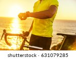 athlete cyclist using an... | Shutterstock . vector #631079285