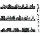 vector black city icons set   Shutterstock .eps vector #631079408