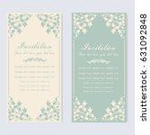 vintage invitation and wedding... | Shutterstock .eps vector #631092848