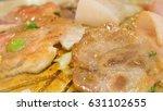 grill delicious slide pork on...   Shutterstock . vector #631102655