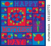 funky roses mother's day card... | Shutterstock .eps vector #631105772