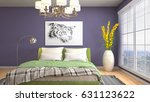 bedroom interior. 3d... | Shutterstock . vector #631123622