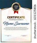 vector certificate or diploma... | Shutterstock .eps vector #631125806
