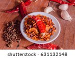 chili sauce on table with spicy | Shutterstock . vector #631132148