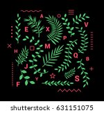 set of vector elements of twigs ... | Shutterstock .eps vector #631151075