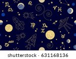 zodiac night sky. abstract... | Shutterstock .eps vector #631168136