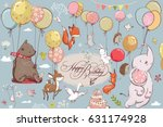 Stock vector cute animals flying with balloons 631174928