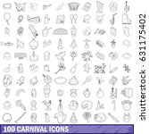 100 carnival icons set in... | Shutterstock .eps vector #631175402
