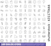 100 dialog icons set in outline ...