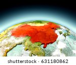 china in red on model of planet ... | Shutterstock . vector #631180862