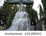a stone statue of mary and... | Shutterstock . vector #631188542