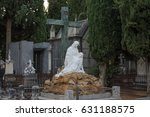 a stone sculpture of mary and... | Shutterstock . vector #631188575