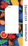 tropical vector frame with... | Shutterstock .eps vector #631189982