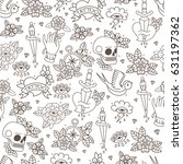 seamless doodle pattern.... | Shutterstock .eps vector #631197362