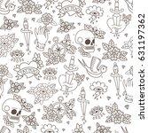 seamless doodle pattern.... | Shutterstock .eps vector #631197362