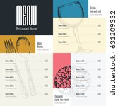 restaurant menu design. vector... | Shutterstock .eps vector #631209332