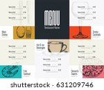 restaurant menu design. vector... | Shutterstock .eps vector #631209746