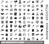 100 magnifier icons set in... | Shutterstock .eps vector #631217756