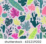 seamless pattern with wild... | Shutterstock .eps vector #631219202